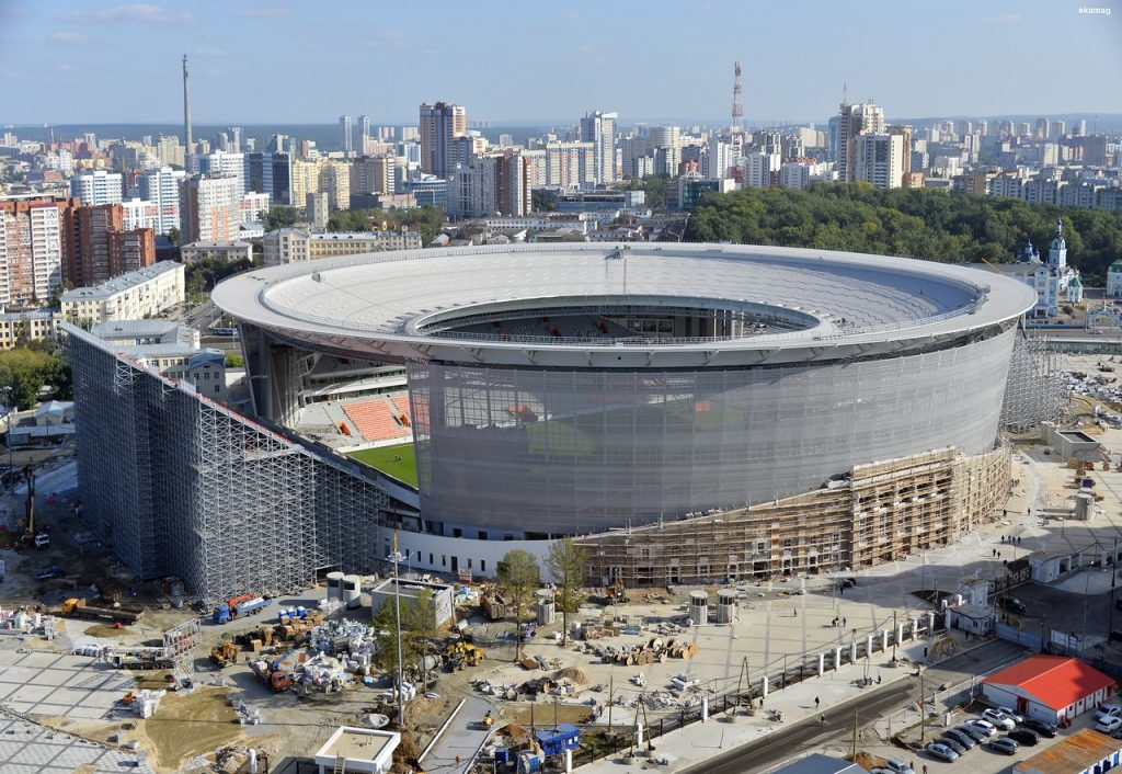 the world cup stadium ekaterinburg arena from the outside in russia 2018