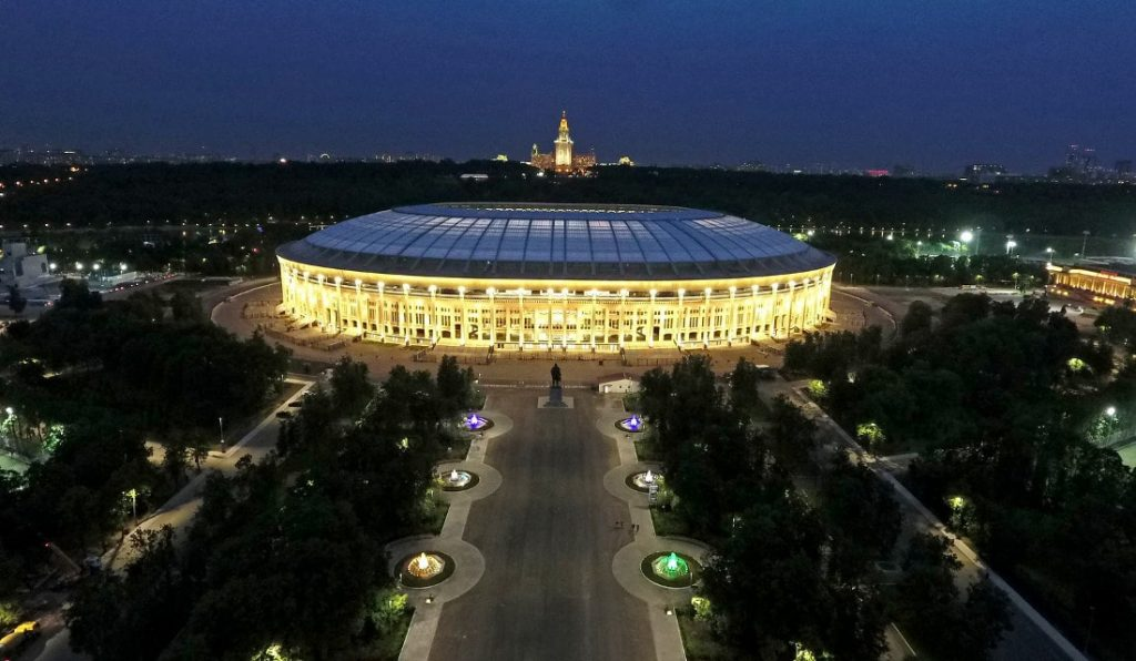 the world cup stadium luzhniki stadium from the outside in russia 2018