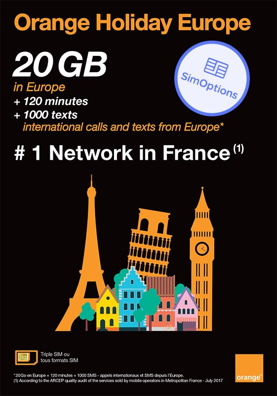 Orange Holiday Europe: 20GB | Unbegrenzt* Anrufe & SMS